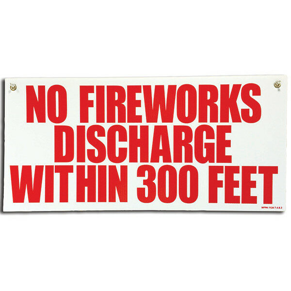 PNSGN3 PLASTIC 14X29.5 FIREWORKS NO SMOKING