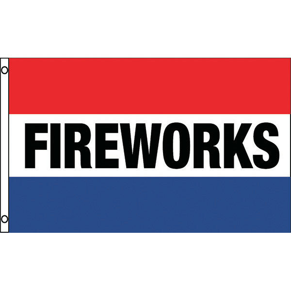 "3' x 5' Flag - Red, White & Blue Stripes ""FIREWORKS"""