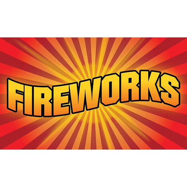 """3' x 5' Flag - Red Starburst """"FIREWORKS"""""""
