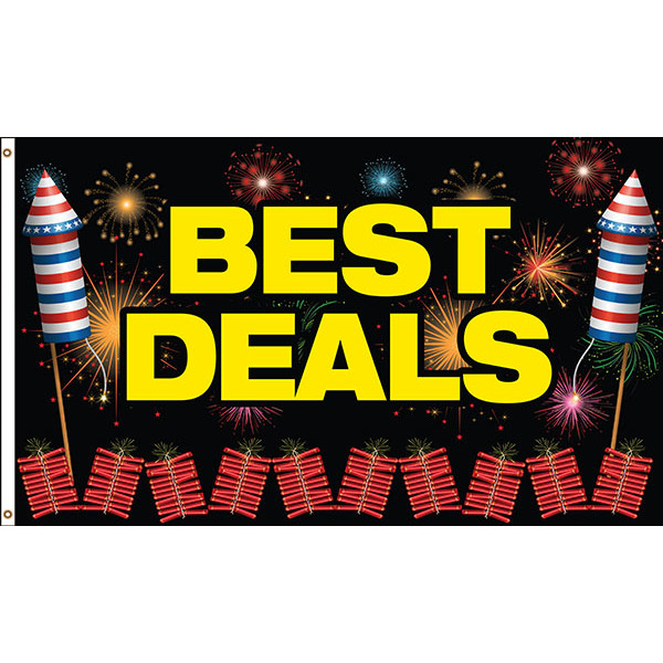 "3' x 5' Flag - Fireworks ""BEST DEALS"""