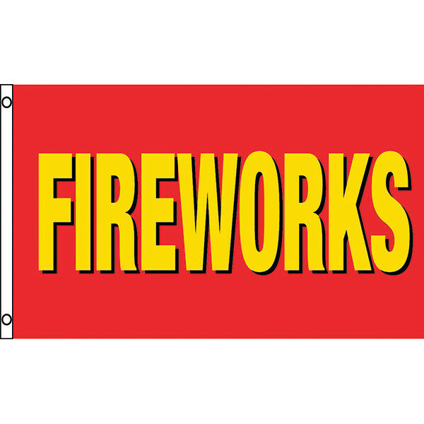 "3' x 5' Flag - Red, Yellow & Black ""FIREWORKS"""