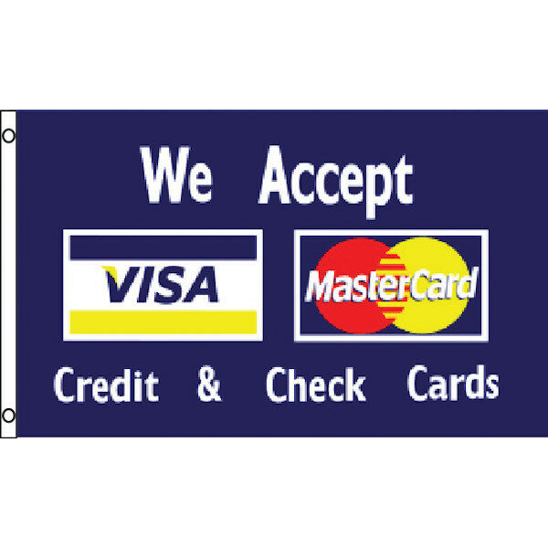 "3' x 5' Flag - Navy ""CREDIT CARDS ACCEPTED"""